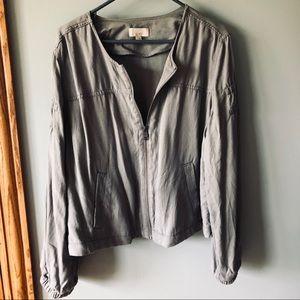 LOFT gray lightweight zip jacket